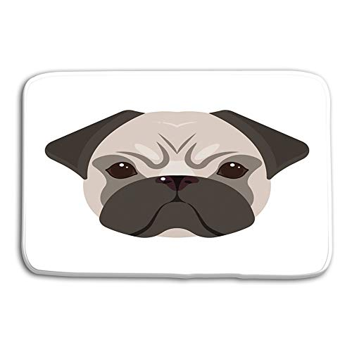 Patterns Camping Holiday Rectangle Non-Slip Rubber Mat Multicolor 23.6 by 15.7 Inch Breed Dog Pug Pug s Muzzle Single icon Cartoon Style Symbol Stock Breed Dog Pug Pug s Muzzle