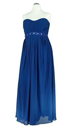 Samtlebe® - Trägerloses Chiffon Abendkleid lang AD328 in Royalblau Gr. 40-46 Royalblau qHd57XkhT
