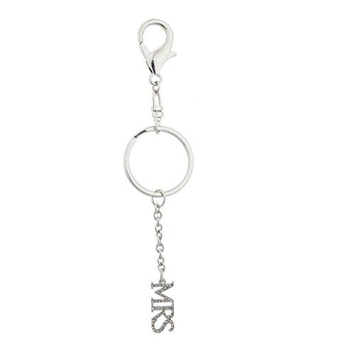 Lux Accessories SilverTone Bridal Bling Mrs.Wedding Verbiage Keychain Bag Charm