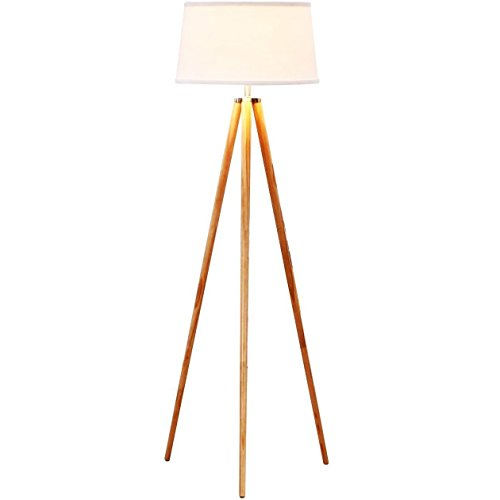 Brightech - Emma Tripod Floor Lamp - Classic Design for Contemporary or Traditional Living Rooms - Soft Ambient Lighting - White Shade (Teak Natural Hardwood Flooring)