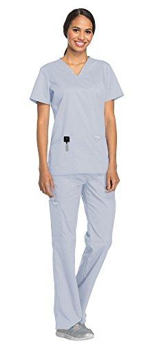 (Cherokee Workwear Revolution Women's Medical Uniforms Scrubs Set Bundle - WW620 V-Neck Scrub Top & WW110 Elastic Waist Scrub Pants & MS Badge Reel (Gray - Large))