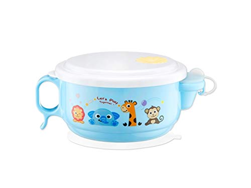 Yuchoi Contemporary Animal Pattern Baby Feeding Bowl Water Injection Bowl Anti-Scald Stainless Steel Children Dish Insulation Bowl for Kids Students(Blue) by Yuchoi