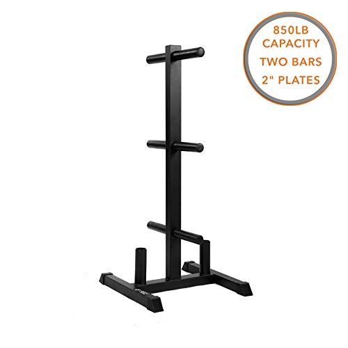 """Weight Rack and 2 Bar Holder for 2"""" Olympic Plates by D1F – Free-Standing Sturdy Plate Racks Stand with 6 Pegs for Weighted Plates and Barbells – Stores Up To 850 lb – Gym Equipment Accessories"""