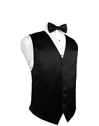 Men's Black 5 Button 100% Silk Tuxedo Vest with Matching Silk Bow Tie (Button Vest 5 Tuxedo)