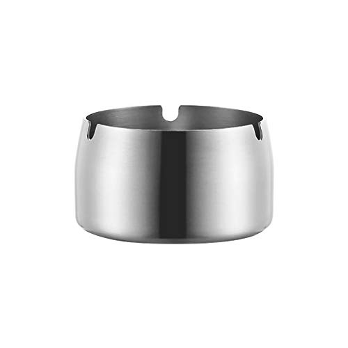 (Shmei Windproof Ashtray Unbreakable Stainless Steel High Temperature Resistant for Collecting Butts,Tabletop Cigarette Holder Ash Tray for Smokers for Home Office Decoration (Silver))