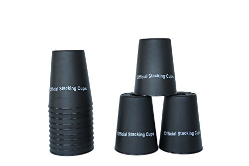 "Trademark Innovations Large 3.5"" x 4.4"" Tall Quick Stack Cups - Speed Training Sports Stacking Cups - Set of 12 (Black)"
