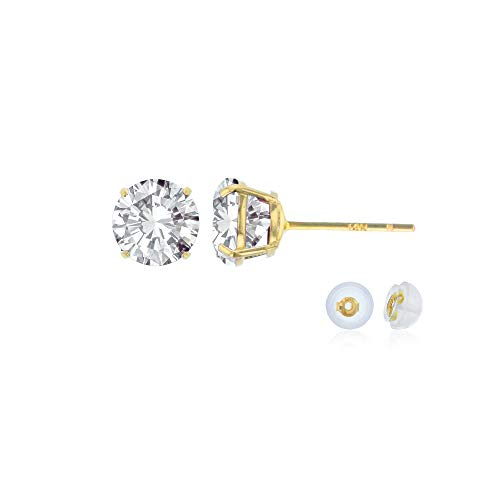 Genuine 14K Solid Yellow Gold 4mm Round Natural White Topaz April Birthstone Stud Earrings