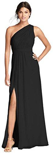 (David's Bridal Long One-Shoulder Crinkle Chiffon Bridesmaid Dress Style F18055, Black,)