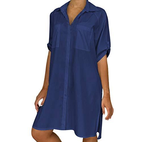 TANGSen Women Solid Color Dress Summer Casual V-Neck Short Sleeve Plus Size Ladies Button Beach Mini Shirt Dress Navy