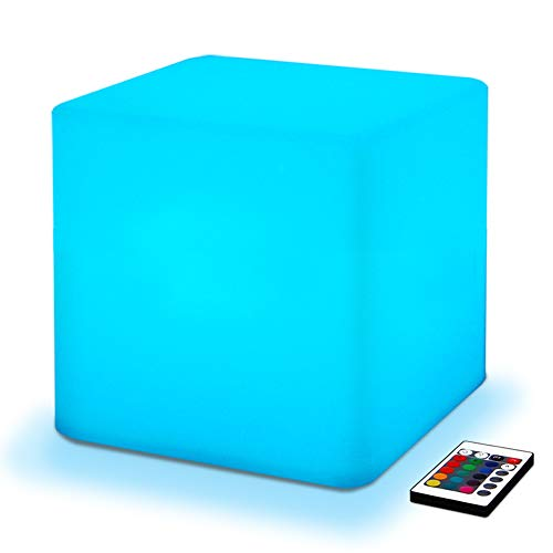 Floor Level 10 Halloween (Mr.Go 10-inch 25cm Rechargeable Color Changing LED Light Up Cube, 16 RGB Colors, 5 Level Dimming, Fun Romantic Mood Lamp Night Light Super Sturdy & Lightweight Waterproof for Indoor Outdoor)