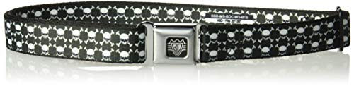 - Buckle-Down Men's Seatbelt Belt Skulls Kids, top Stacked Black/White, 1.0