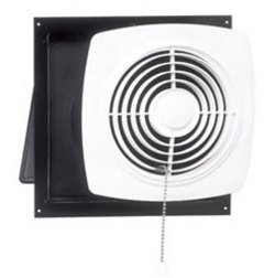 Broan Chain-Operated Ventilation Fan, Plastic White Square Exhaust Fan, 7.5 Sones, 430 CFM, 10