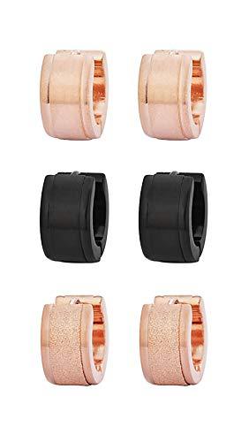 Edforce Stainless Steel Men's Women's Small Huggie Hoop Earrings Triple Set, Three Pairs (Rose Gold, Black, Pink) ()
