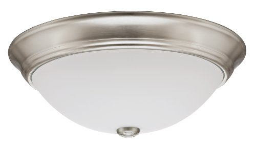 Lithonia Lighting 11983 BNP M2 15-Inch Fluorescent Decor Round Flush-Mount Ceiling Fixture with Lamp, Brushed Nickel