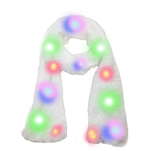 Luwint Colorful LED Flashing Plush Scarf - Lights Up Rave Clothing Accessories Toys for Halloween Party Costume (White) -