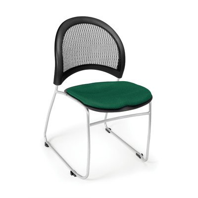 Stars and Moon Armless Stacking Chair with Cushion [Set of 4] Seat Finish: Forest Green - Ofm Armless Stacking Chair