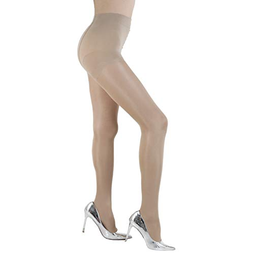 WEANMIX 2 Pair Women's Nylon Pantyhose Stockings Control Top Sheer Stretch Thin 40 Denier Footed Tights Nude/Black