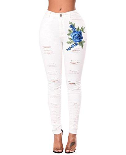 ISSHE Pantalones Vaqueros Cintura Alta Mujer Jeans Rotos Mujer Vaqueros Skinny Slim Pantalon Vaquero Denim Tiro Alto Mujer Jeggings Elasticos Treggings Ajustados Fitness Deportes Blanco