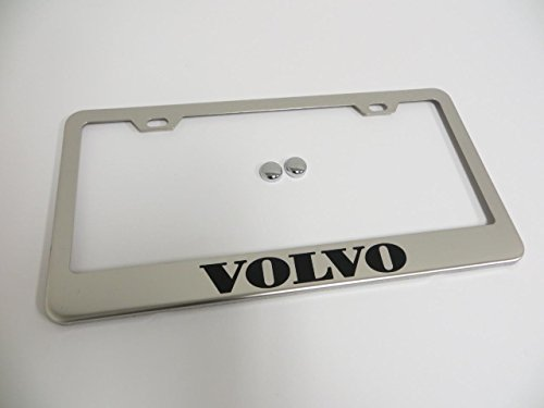 (Volvo Stainless Steel Chrome License Plate Frame with Screw Cap Cover)