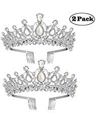 2 Pack Tiara Crown Crystal Pearl Rhinestones Tiara Exquisite Headband Comb Pin Wedding Bridal Birthday Tiaras