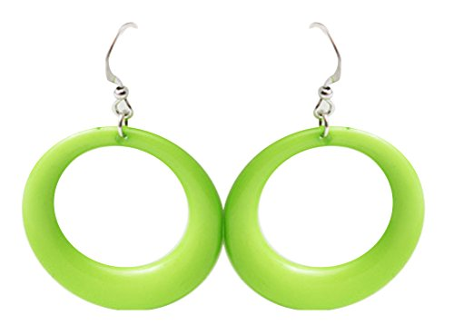 Lime Green Earrings (Women's Fashion Lime Green Big Round Hoop Earrings)