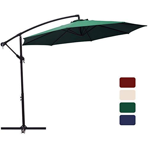 Patio Umbrella 10 ft Cantilever Offset Umbrella Outdoor Market Hanging Umbrellas Garden Umbrella & Crank with Cross Base, 8 Ribs