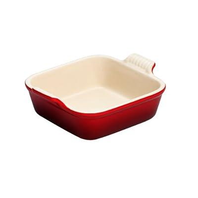 "Le Creuset Heritage Stoneware 8"" Square Dish, Cerise (Cherry Red)"