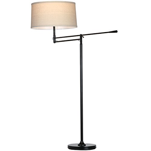 Brightech Ava LED Floor Lamp for Living Rooms - Standing Pole Light with Adjustable Arm - Office and Bedroom, Bright Reading Downlight with Drum Shade - Black by Brightech (Image #5)