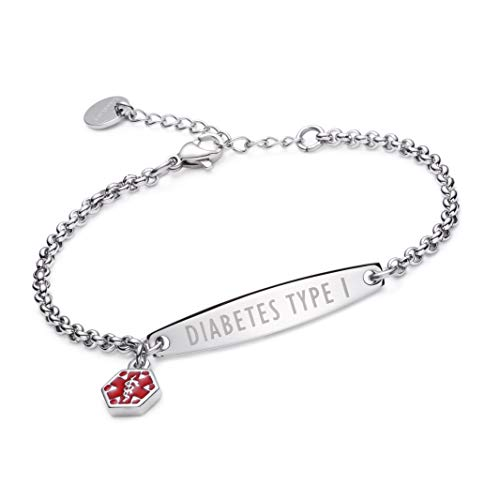 linnalove-Pre-Engraved Simple Rolo Chain Medical Alert id Bracelet for Women & Girl-Diabetes Type 1