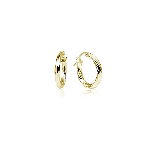 LOVVE Yellow Gold Flashed Sterling Silver High Polished Twist Round Click-Top Hoop Earrings, 2x15mm (Metal Two High Polished)