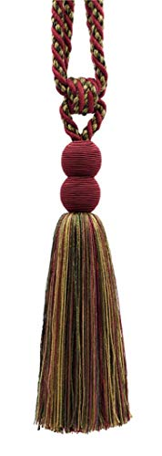 "Contemporary,Modern|Burgundy Wine, Olive Green, Yellow Gold, Black|Curtain and Drapery Tassel Tieback|9 1/2"" (24cm) Tassel