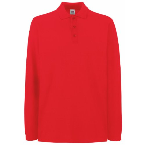 Fruit Of The Loom Premium Long Sleeve Polo Shirt Red S