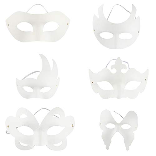 DIY Mask - 12-Pack White Half Face Mask for Halloween Costume Party, 6 Designs