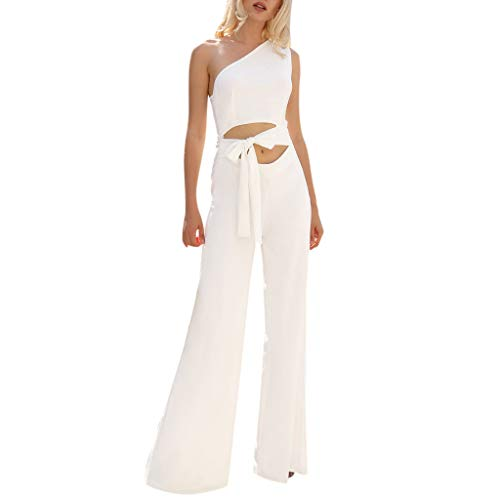 Rompers for Plus Size Women Summer Fit Slim Solid High Waist Lace Up Sexy Off Shoulder Flare Jumpsuits White ()