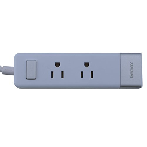Remax 2 AC Outlets Power Strip with Surge Protector 4.9FT/1.5M and 3-Port USB Charger for Home and office Charging Station and Apple and Android Devices (White)