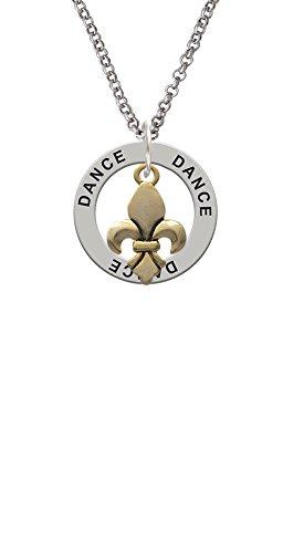 Gold Tone Fleur de Lis - Dance Affirmation Ring Necklace