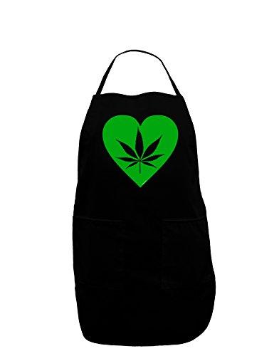 Marijuana Leaf Heart Green Dark Adult Apron - Black - One-Size