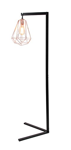 Deco 79 58679 and and Rose Iron Wire Diamond Prism Caged Floor Lamp, Black/Rosegold ()