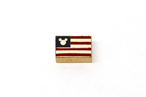 BRACCIALE DISNEY MICKEY MOUSE HEAD AMERICAN FLAG STAINLESS STEEL GOLD PLATED NECKLACE CHARM