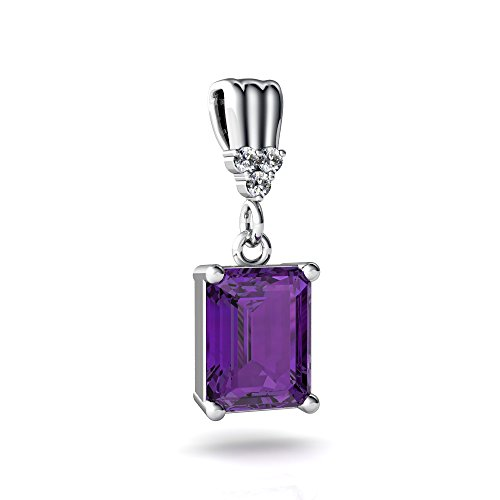Art Pendant Gold Deco (14kt White Gold Amethyst and Diamond 9x7mm Emerald_Cut Art Deco Dangle Pendant)