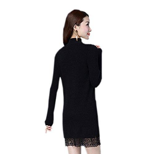 Suéter De La Ropa De Otoño E Invierno De Las Nuevas Mujeres Qweas Costura De Encaje De Punto De La Sección Larga De La Camisa Tramo De Cobertura Black