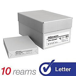 Office Depot White Copy Paper, 8 1/2in. x 11in., 20 Lb, 500 Sheets Per Ream, Case Of 10 Reams, 40402786