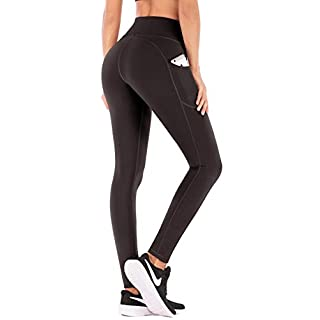 IUGA High Waist Yoga Pants with Pockets, Tummy Control, Workout Pants for Women 4 Way Stretch Yoga Leggings with Pockets(Dark Coffee L)
