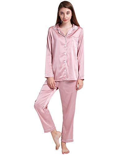c5ce41f4d0 ENIDMIL Womens Silk Satin Pajamas Set Sleepwear Loungewear S~2XL Plus