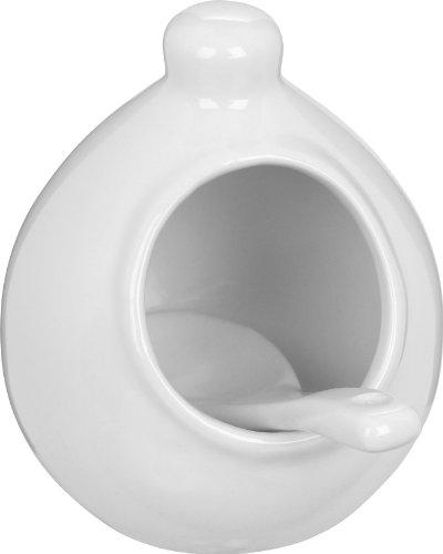 Salt Pig White (Trudeau Mini White Stoneware Salt Pig with Spoon)