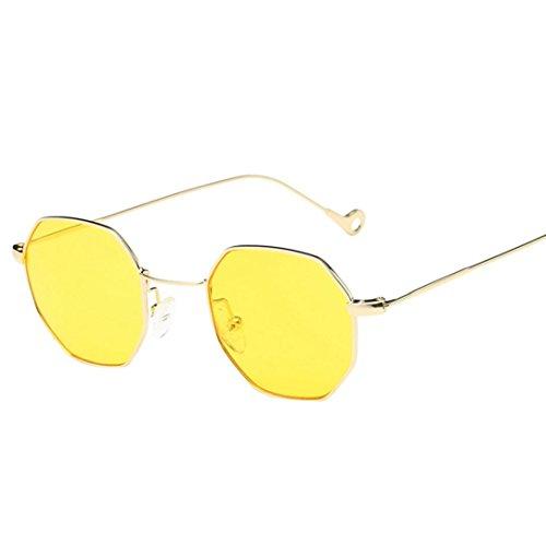 Rétro en Lunettes Femme Classique Lentille Mode irrégularité Rétro cadre de de soleil en Jaune métal Xwq7wt
