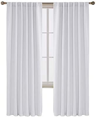 Deconovo Solid Back Tab Curtains Blackout Curtains Thermal Insulated Drapes and Curtains Room Darkening Curtains for Bedroom 52×95 Inch Greyish White 1 Set