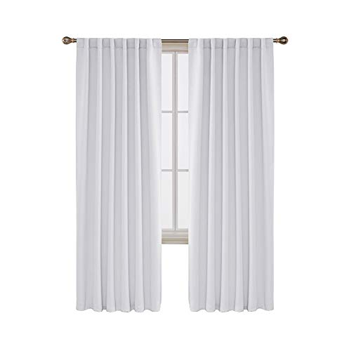 Deconovo Solid Back Tab Curtains Blackout Curtains Thermal Insulated Drapes and Curtains Room Darkening Curtains for Living Room 52x84 Inch Greyish White 2 Panels (Curtain Back Tab)