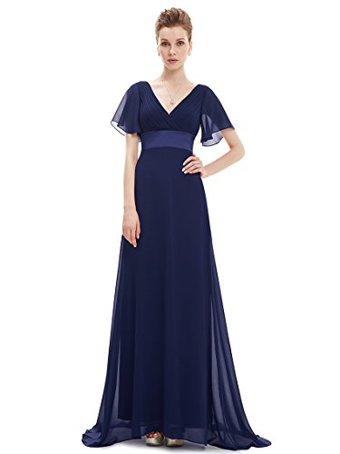 Ever-Pretty Womens Ruched Bust Empire Waist Long Mother of The Bride Dress 10 US Navy Blue