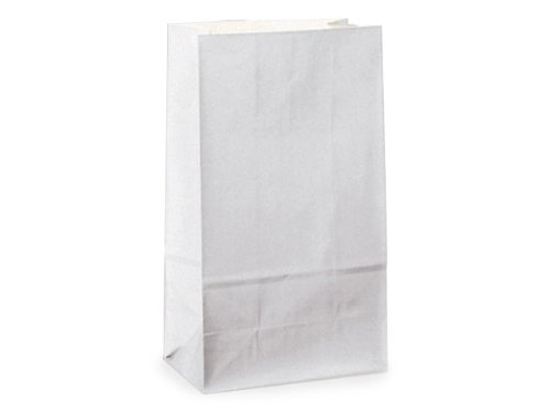 Kraft & White Paper Gift Bags - Bulk 12lb Gift Sacks 100% Recycled Kraft 7-1/8x4-3/8x13-15/16'' (500 bags) - WRAPS-B12KWH by Miller Supply Inc